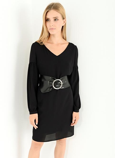 People By Fabrika V Yaka Elbise Siyah